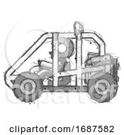 Sketch Football Player Man Riding Sports Buggy Side View