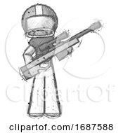 Sketch Football Player Man Holding Sniper Rifle Gun