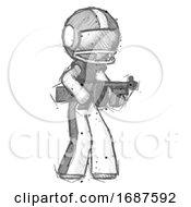 Sketch Football Player Man Tommy Gun Gangster Shooting Pose