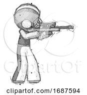 Sketch Football Player Man Shooting Sniper Rifle
