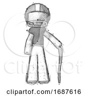 Sketch Football Player Man Standing With Hiking Stick