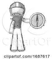 Sketch Football Player Man Holding A Large Compass