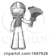 Sketch Football Player Man Holding Feather Duster Facing Forward