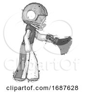 Sketch Football Player Man Dusting With Feather Duster Downwards