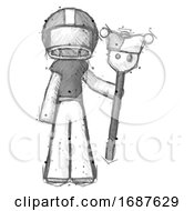Poster, Art Print Of Sketch Football Player Man Holding Jester Staff