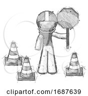 Sketch Football Player Man Holding Stop Sign By Traffic Cones Under Construction Concept