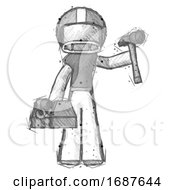 Sketch Football Player Man Holding Tools And Toolchest Ready To Work