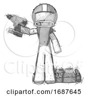 Sketch Football Player Man Holding Drill Ready To Work Toolchest And Tools To Right