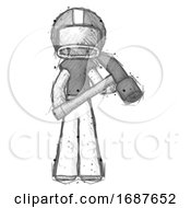Sketch Football Player Man Holding Hammer Ready To Work