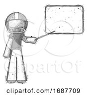 Sketch Football Player Man Giving Presentation In Front Of Dry Erase Board