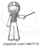 Sketch Football Player Man Teacher Or Conductor With Stick Or Baton Directing
