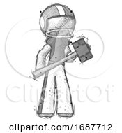 Sketch Football Player Man With Sledgehammer Standing Ready To Work Or Defend