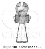 Poster, Art Print Of Sketch Football Player Man Reading Book While Standing Up Facing Viewer