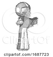 Poster, Art Print Of Sketch Football Player Man Reading Book While Standing Up Facing Away