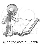 Poster, Art Print Of Sketch Football Player Man Reading Big Book While Standing Beside It