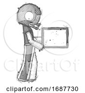 Sketch Football Player Man Show Tablet Device Computer To Viewer Blank Area