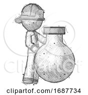 Sketch Firefighter Fireman Man Standing Beside Large Round Flask Or Beaker