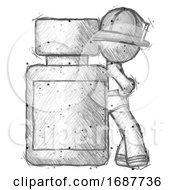 Sketch Firefighter Fireman Man Leaning Against Large Medicine Bottle
