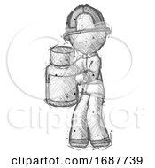 Sketch Firefighter Fireman Man Holding White Medicine Bottle