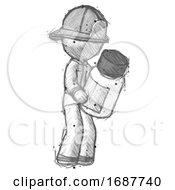 Sketch Firefighter Fireman Man Holding Glass Medicine Bottle