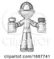 Sketch Firefighter Fireman Man Holding Two Medicine Bottles