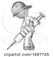 Sketch Firefighter Fireman Man Using Syringe Giving Injection