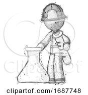 Sketch Firefighter Fireman Man Holding Test Tube Beside Beaker Or Flask