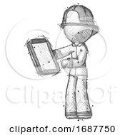 Sketch Firefighter Fireman Man Reviewing Stuff On Clipboard