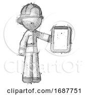 Sketch Firefighter Fireman Man Showing Clipboard To Viewer