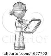 Sketch Firefighter Fireman Man Using Clipboard And Pencil