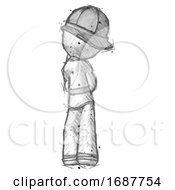Sketch Firefighter Fireman Man Thinking Wondering Or Pondering Rear View