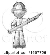 Poster, Art Print Of Sketch Firefighter Fireman Man Holding Large Scalpel