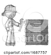 Sketch Firefighter Fireman Man Server Administrator Doing Repairs