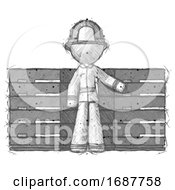 Sketch Firefighter Fireman Man With Server Racks In Front Of Two Networked Systems