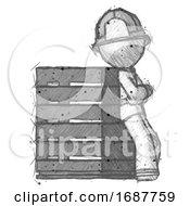 Sketch Firefighter Fireman Man Resting Against Server Rack Viewed At Angle