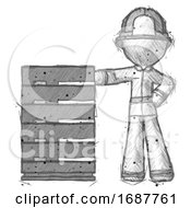 Sketch Firefighter Fireman Man With Server Rack Leaning Confidently Against It