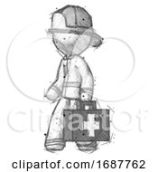 Sketch Firefighter Fireman Man Walking With Medical Aid Briefcase To Left