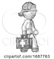 Sketch Firefighter Fireman Man Walking With Medical Aid Briefcase To Right