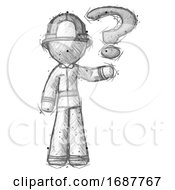 Sketch Firefighter Fireman Man Holding Question Mark To Right