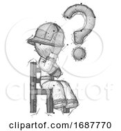 Sketch Firefighter Fireman Man Question Mark Concept Sitting On Chair Thinking