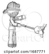 Poster, Art Print Of Sketch Firefighter Fireman Man Holding Jesterstaff - I Dub Thee Foolish Concept