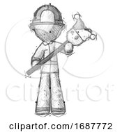 Poster, Art Print Of Sketch Firefighter Fireman Man Holding Jester Diagonally