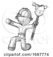 Poster, Art Print Of Sketch Firefighter Fireman Man Holding Jester Staff Posing Charismatically