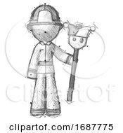 Poster, Art Print Of Sketch Firefighter Fireman Man Holding Jester Staff