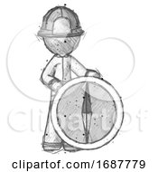 Sketch Firefighter Fireman Man Standing Beside Large Compass