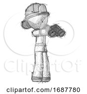 Sketch Firefighter Fireman Man Holding Binoculars Ready To Look Right