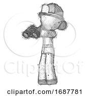 Sketch Firefighter Fireman Man Holding Binoculars Ready To Look Left