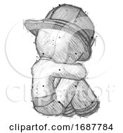 Sketch Firefighter Fireman Man Sitting With Head Down Back View Facing Right