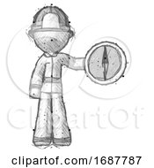 Sketch Firefighter Fireman Man Holding A Large Compass