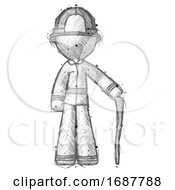 Sketch Firefighter Fireman Man Standing With Hiking Stick